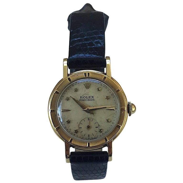 Rolex Ladies Yellow Gold Star Dial Bubbleback Manual Wind Wristwatch, 1950s