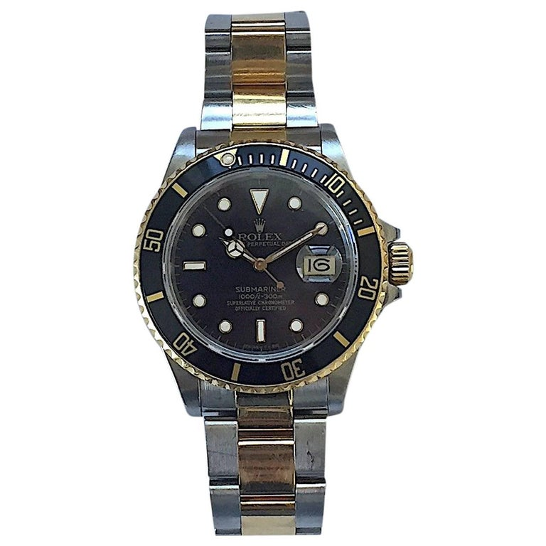 Rolex Steel and Gold 1980's Submariner Watch with Box and Papers