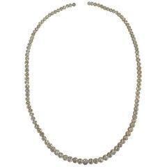 18 Karat Yellow Gold Graduating Diamond Necklace Weighing 20.63 Carat