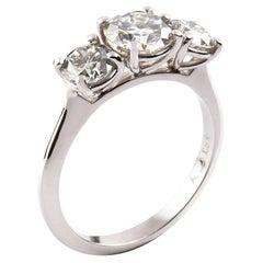 18 Carat White Gold 2.00 Carat Round Diamond Trilogy Engagement Ring