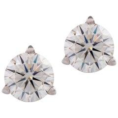 White Gold 1 Carat Round Brilliant Cut Diamond Earring Studs