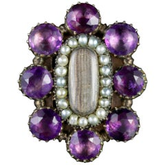 Antique Georgian Mourning Ring Amethyst Pearl, circa 1800