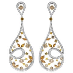 IGR 8.01 Carat White and Colored Round Diamond Drop Earrings in 18 Karat Gold