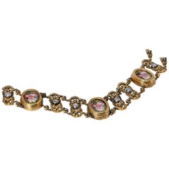 Early 20th Century 18 Karat Yellow Gold and Platinum French Micromosaic Bracelet