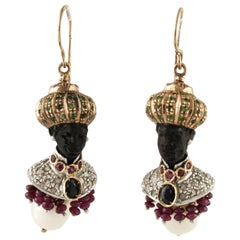 Earrings in Gold, Silver, Precious Stones, Tsavorite, Pearl Diamond and Ebony