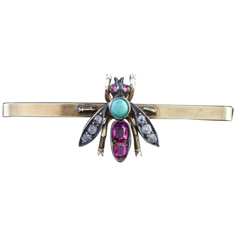 Antique Victorian Insect Brooch Diamond Ruby Turquoise, circa 1900