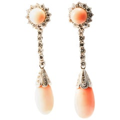 1950 Coral and Diamonds 18K White Gold Cocktail Dangle Clip-On Earrings