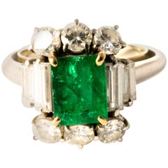 Ansuini Classic Dolce Vita 1960 Emerald and Diamond Platinum Ring Band