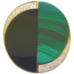 Vintage La Triomphe Malachite Onyx and Diamond Pendant/Brooch, 1970s