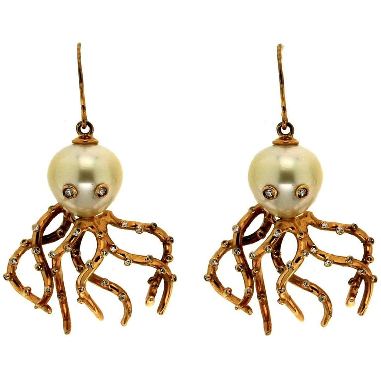 Cultured Pearls Gold Diamonds Octopus Earrings