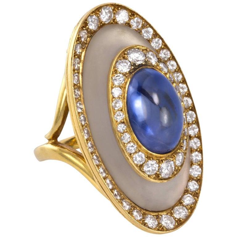 1970s Bulgari, Sapphire, Diamond, Rock Crystal and Gold Ring