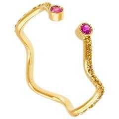 Sabine Getty Pink Yellow Pave Sapphire 18 Karat Gold Band Ring