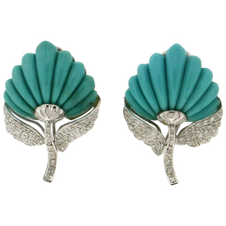 Turquoise Gold Diamonds Leaves Stud Earrings