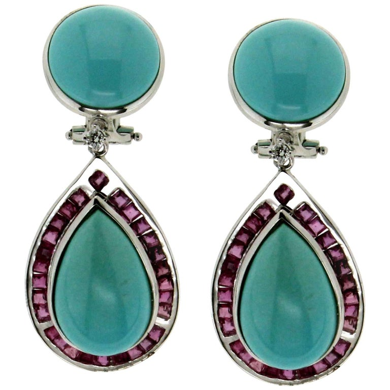 Turquoise White Gold Rubies Drop Earrings