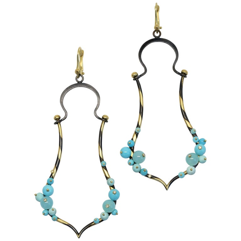 Philip Crangi 18k Gold and Stainless Steel Earrings with Turquoise and Diamonds