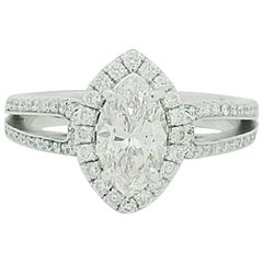1.15 Carat Natural Marquise Cut Diamond with Split Shank Halo Ring SI1/H-I