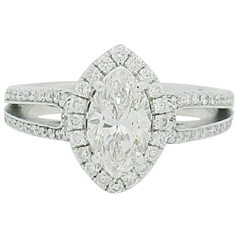 1.15 Carat Natural Marquise Cut Diamond with Split Shank Halo Ring SI1/H-I For Sale