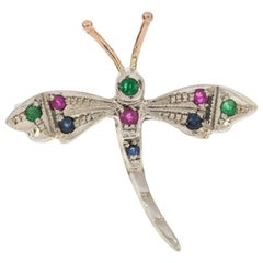 Handcrafted Italian 9 Carat Gold Emerald Ruby and Sapphire Dragonfly Brooch