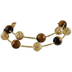 18 Karat Yellow Gold Tiger's Eye Quartz Necklace