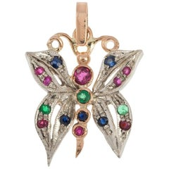 Handcrafted Italian Rose Gold Ruby Emerald and Sapphire Butterfly Pendant