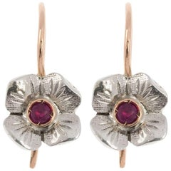 Handcrafted Italian Rose Gold 0.15 Carat Ruby Floral Drop Earrings
