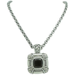 Scott Kay Sterling Square Smokey Quartz & Diamond Basket Weave Pendant/Necklace