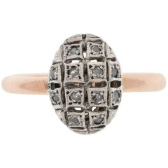 Handcrafted Italian Rose Gold Diamond Cluster Ring