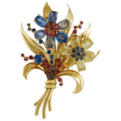 18 Karat Gold Multi-Color Sapphire Flower Brooch