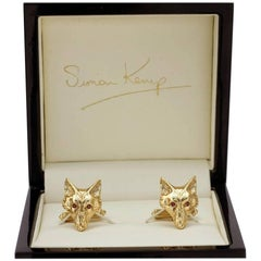 Solid 9 Carat Gold Fox Head Cufflinks with Ruby Eyes