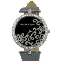Van Cleef & Arpels Ladies White Gold Diamond Flower Wristwatch