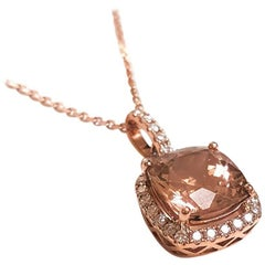 Ladies 14 Karat Rose Gold Peachy Morganite and Diamonds Pendant