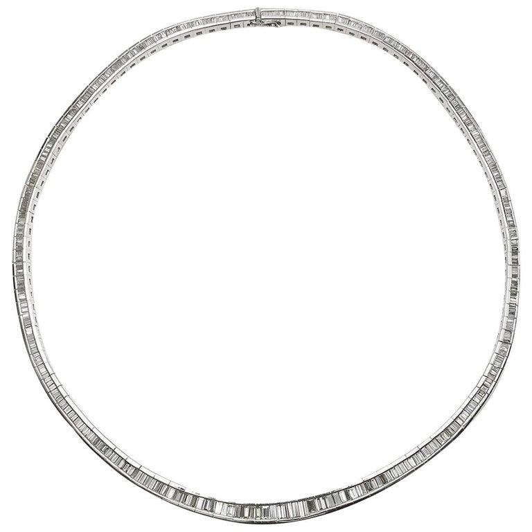 Baguette Diamond Platinum Necklace