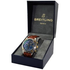Breitling Yellow Gold Stainless Steel Blue Dial Chronomat Automatic Watch
