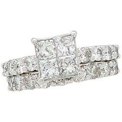 14 Karat Gold 3 Carat Illusion Set Diamond Engagement Ring with Matching Band