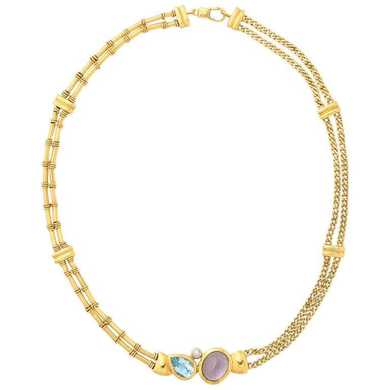 Gold, Amethyst, Blue Topaz and Diamond Choker