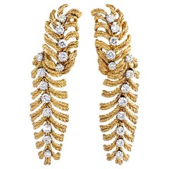 1950s Boucheron Gold and Diamond Stylized Feather Design Earrings