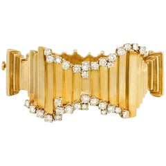 1960s Brutalist Style Gold and Diamond Bracelet