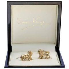 Solid 9 Carat Gold Lion Cufflinks