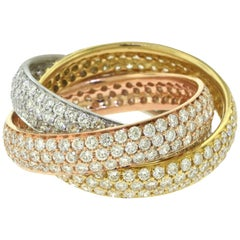 18 Karat Yellow, Rose, and White Gold Tri-Color Trinity Rolling Ring