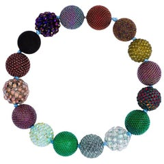 Axel Russmeyer Beaded Ball Necklace in Bronze, Purple and Green Tones