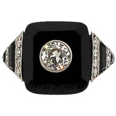 Art Deco Tablet Cut Onyx Diamond Platinum Ring