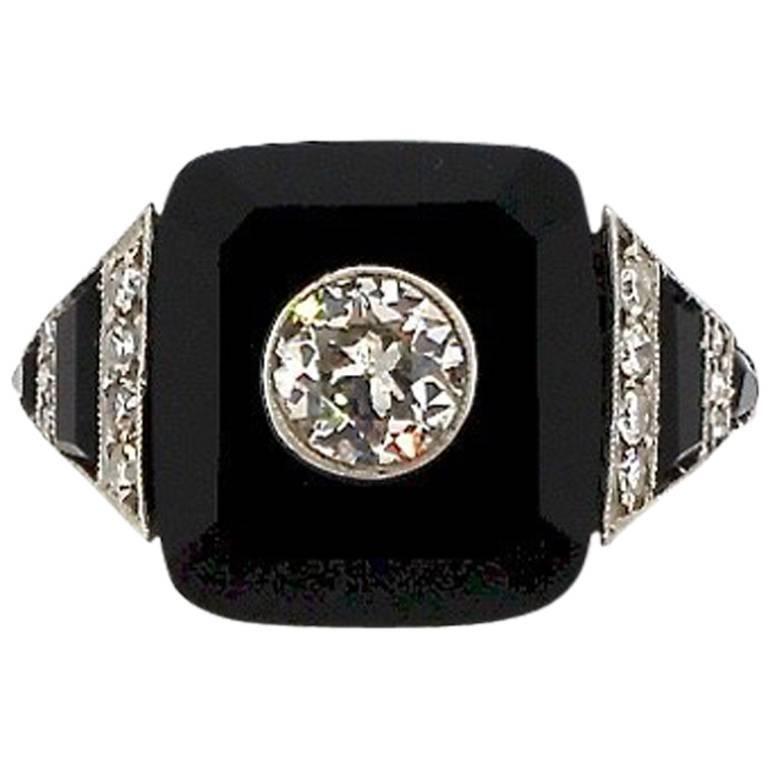 Art Deco Tablet Cut Onyx Diamond Platinum Ring