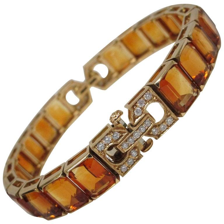 Citrine Diamond Gold Bracelet