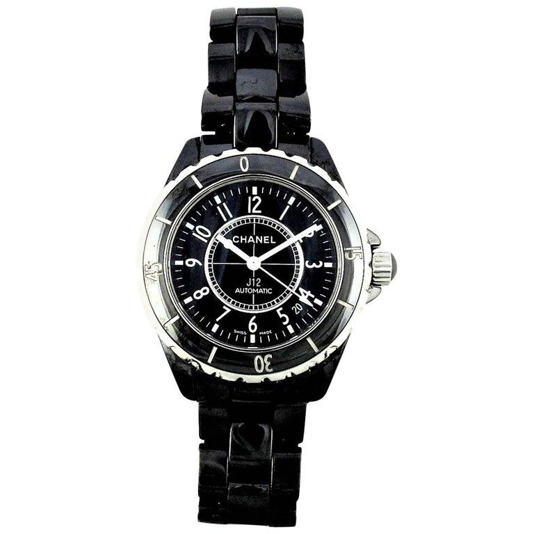 Diamond Black Ceramics Automatic Large J12 Chanel Watch