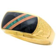 23 Karat Gold Midcentury Taiwanese Black Onyx Ring
