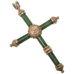 Jade Gold Cross Pendant