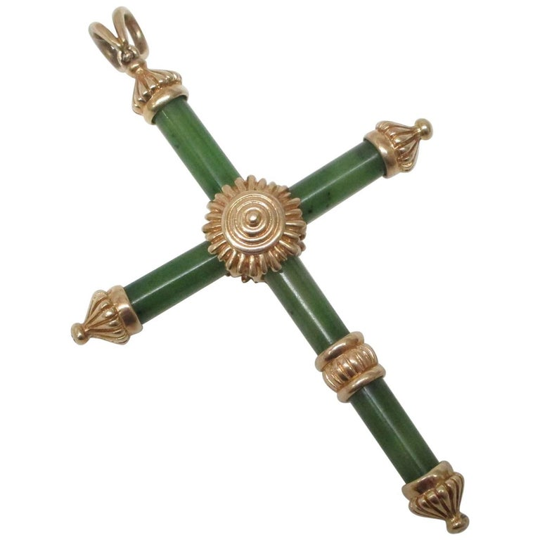 Jade Gold Cross Pendant