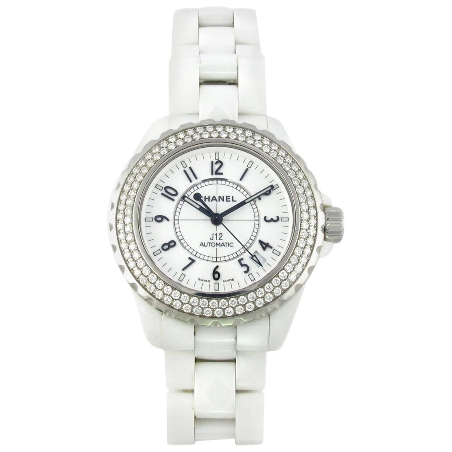 4005118d00d Chanel White Ceramic Diamond Large J12 Automatic Wristwatch at 1stdibs