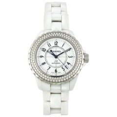Chanel White Ceramic Diamond Large J12 Automatic Wristwatch