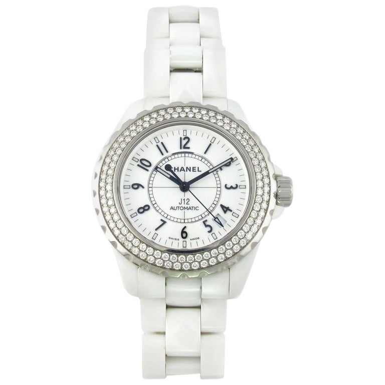 Chanel White Ceramic Diamond Large J12 Automatic Wristwatch